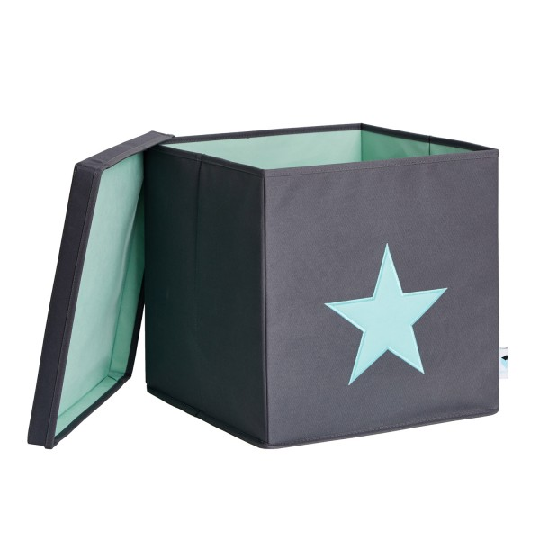 Pico Mundo - Ordnungsbox mit Deckel - grau mit mintgrünem Stern - grau mintgrün