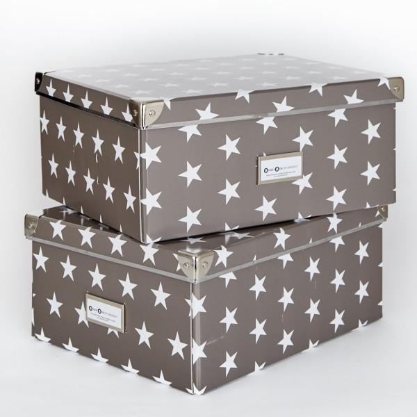 2er Set Universalbox - Mika - Grau mit weißen Sternen