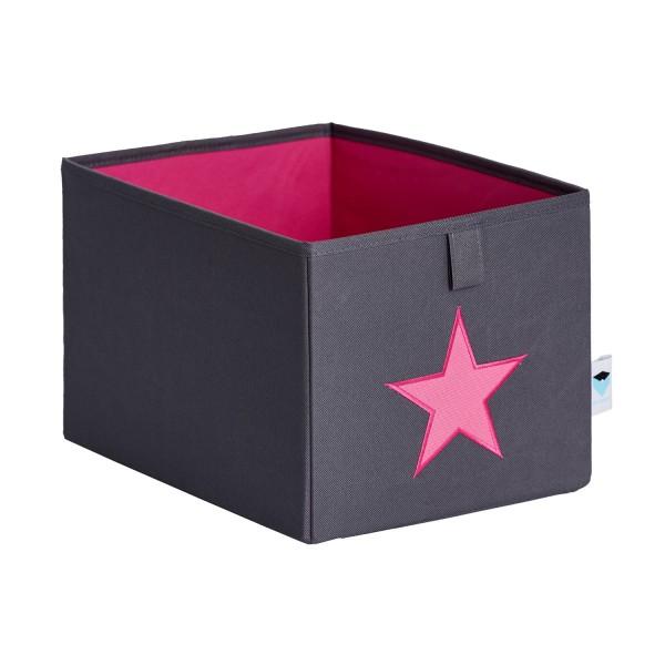 Pico Mundo - kleine Ordnungsbox - grau mit pinkem Stern