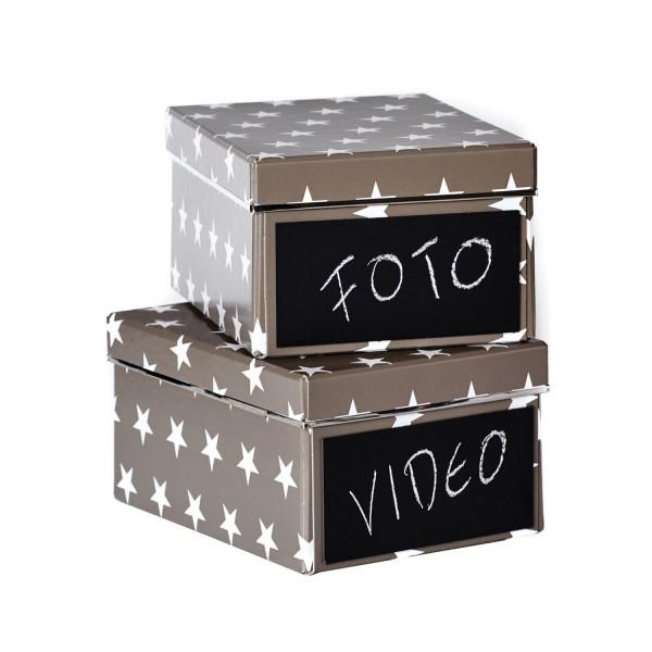 2er Set DVD Box - Emelie - Grau mit weißen Sternen - mit Kreidetafel