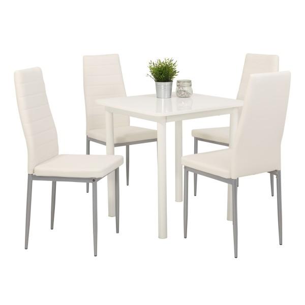 Essgruppe Anna   5 Teilig   Tisch Hochglanz Weiß   Stühle Weiß