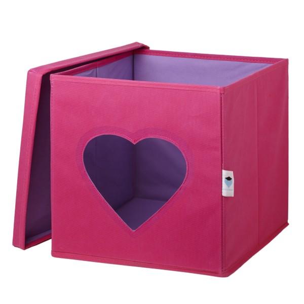Pico Mundo - Spielzeugkiste mit Sichtfenster - Herz - pink