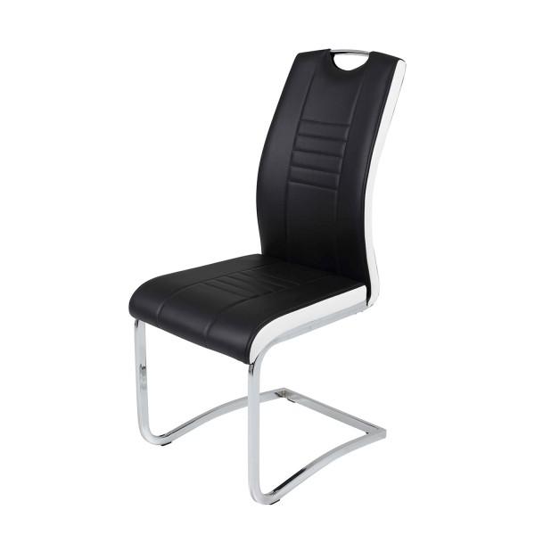 4er Set Schwingstuhl Tabea - Kunstleder Schwarz Weiß