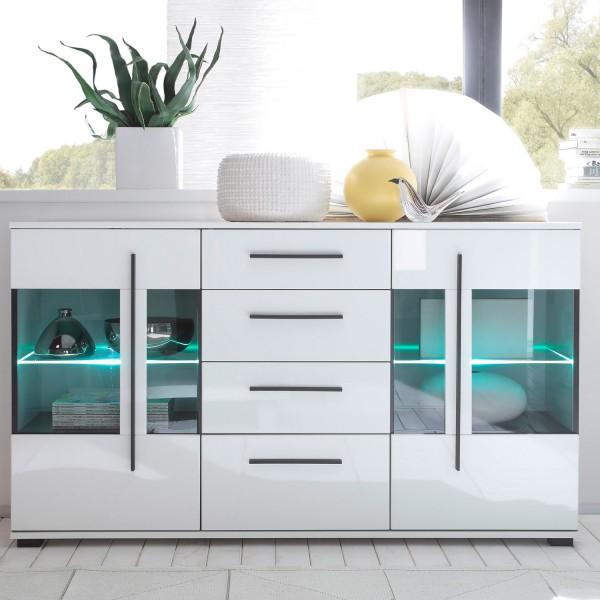 Sideboard Cantara - Weiß Hochglanz - mit Glastüren