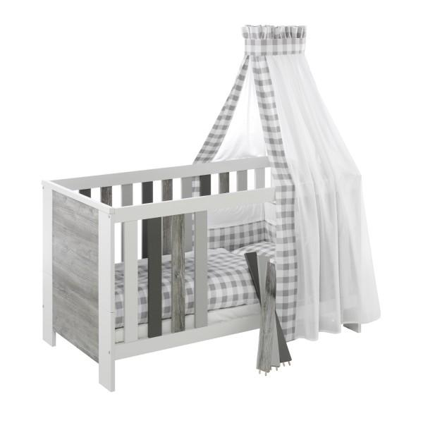 Woody Grey - Kombi-Kinderbett 70 x 140cm - Dekor Mix