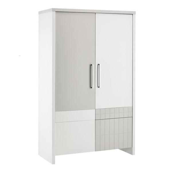Joy - Kleiderschrank - Dekor Weiß - Sandfarbig lackiert