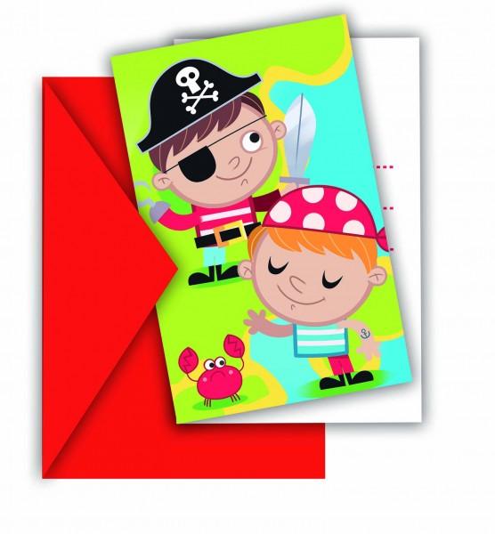 Einladungskarten Piraten 6 Stück