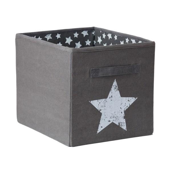Canvas Grau - offene Ordnungsbox - Motiv Stern
