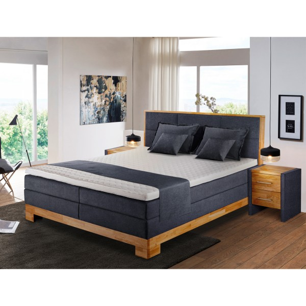 Boxspringbett Charleston - Stoff Anthrazit - Massivholz