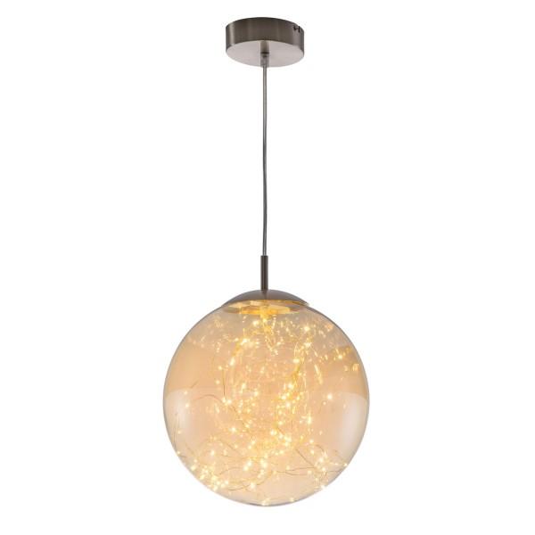 Lights - LED Pendel 1-flammig - Nickel - Glas amber mit LED