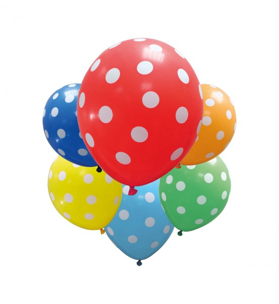 6 Stück bunte Luftballons mit Punkten