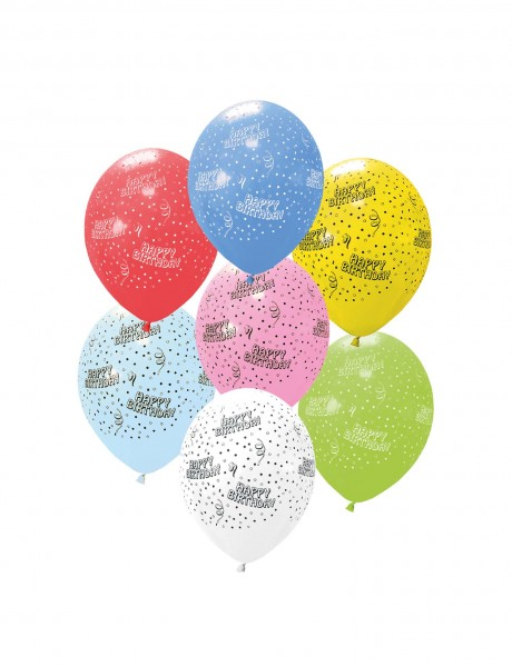 6 Stück bunte Luftballons Happy Birthday