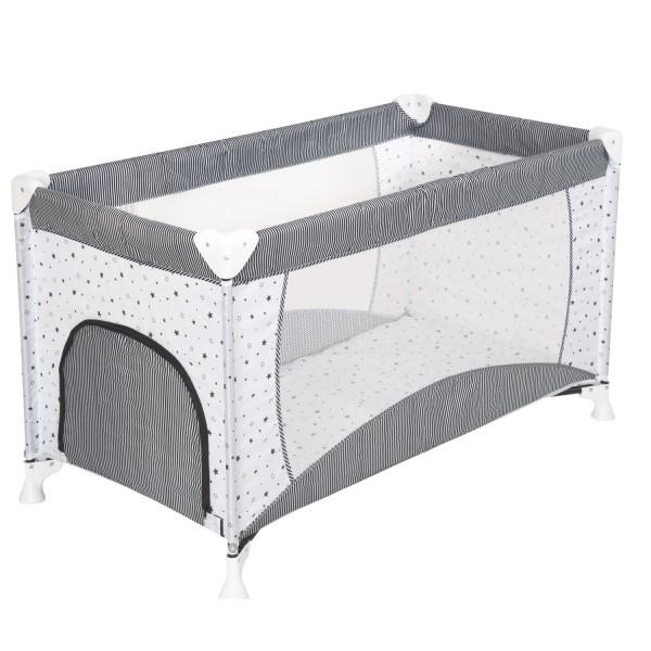 Babyreisebett inkl. Tragetasche - Polyester - Design Sternchen Grau