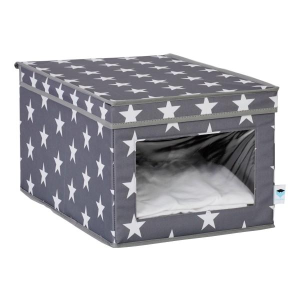 Urban Stars - XL Aufbewahrungsbox mit Sichtfenster - grau mit weißen Sternen