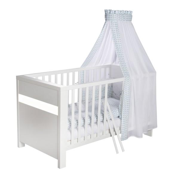 Planet White - Kombi-Kinderbett 70 x 140cm - Dekor weiß