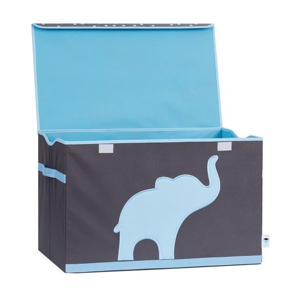 Spielzeugtruhe mit Deckel - Elefant - grau