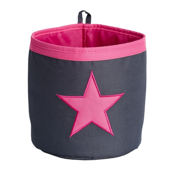 Urban Stars - Aufbewahrungskorb - Mini - grau mit pinkem Stern - grau pink