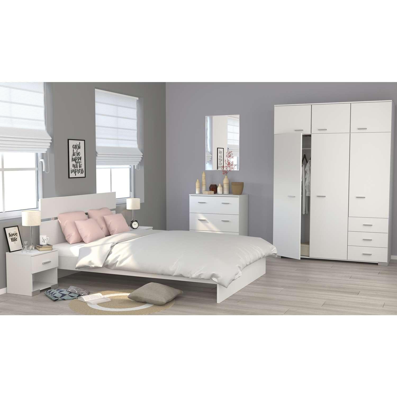 Parisot - Schlafzimmer Galaxy - 140 x 200 - Weiß | Möbel Stellbrink