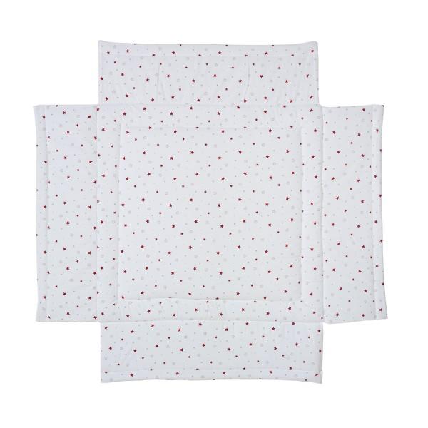 Laufgittereinlage 100 x 100 - Baumwolle mit weicher Füllung - Design Sternchen rot