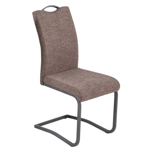 4er Set - Schwingstuhl Lucy - Webstoff Braun