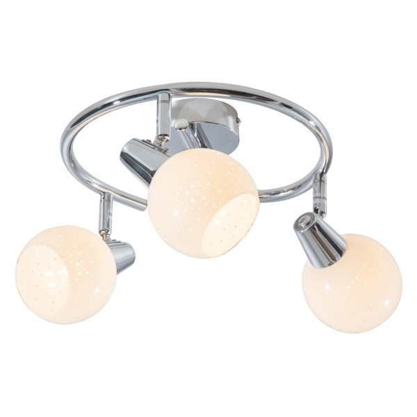 Doxy - LED Spirale 3-flammig - chromfarbig - Diamond-Glas Weiß