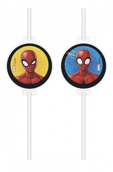 Papiertrinkhalm Spiderman 4 Stück