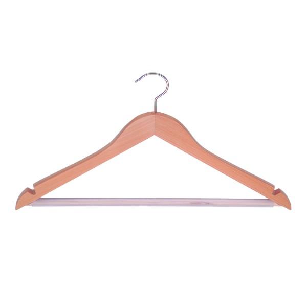 5er Set - MAWA Kleiderbügel Business - Buche natur lackiert mit Rockeinkerbung und Hosensteg