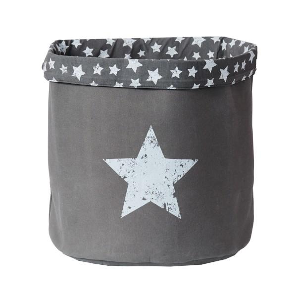 Canvas Grau - großer Aufbewahrungskorb - rund - Motiv Stern