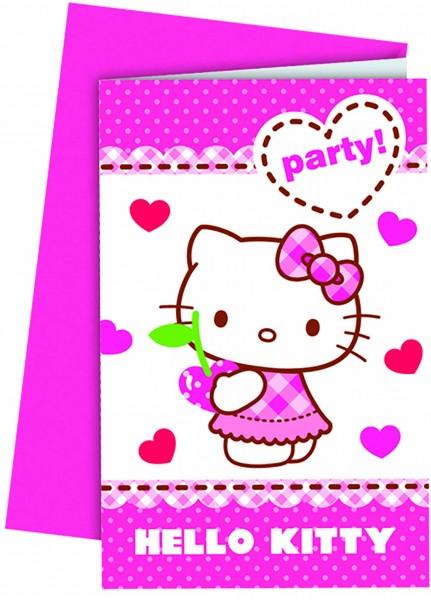 Einladungskarte Hello Kitty 6 Stück