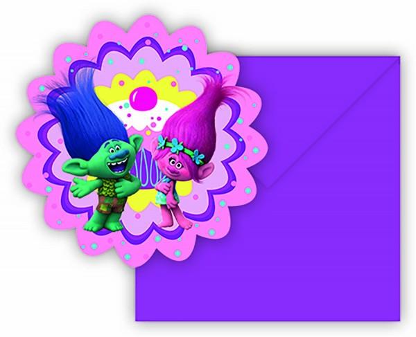 Einladungskarte Trolls 6 Stück