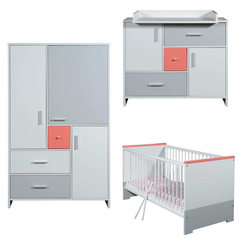 Candy Red - Babyzimmer Set II - Weiß - Koralle - Grau lackiert