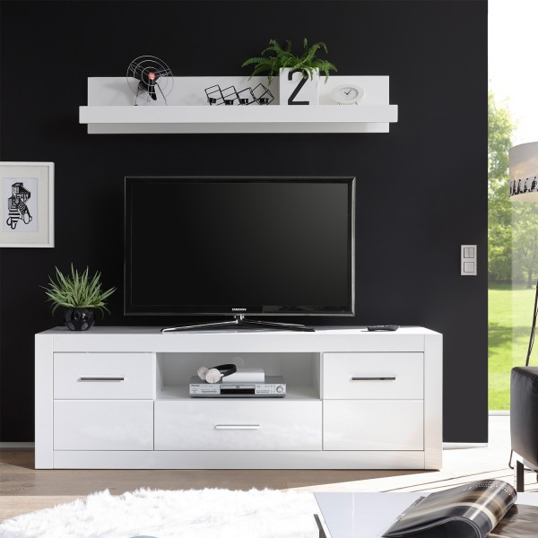 Großes Lowboard Bianco - Weiß Hochglanz - mit Wandboard