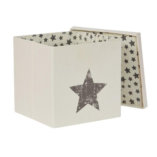 Canvas Beige - Ordnungsbox mit Deckel - Motiv Stern