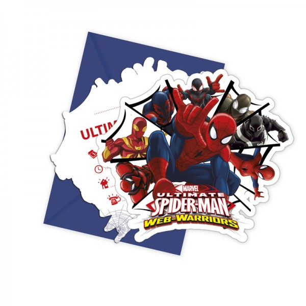 Einladungskarte Spiderman 6 Stück