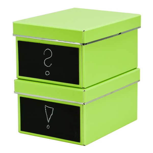 2er Set DVD Box - Emelie - lime - mit Kreidetafel