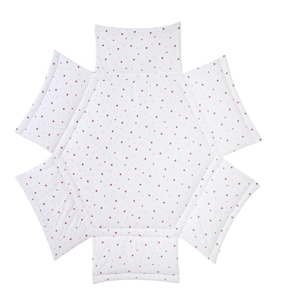 Laufgittereinlage 6-Eck - Baumwolle mit weicher Füllung - Design Sternchen rot