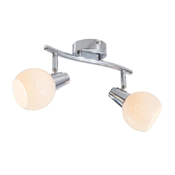 Doxy - LED Spot 2-flammig - chromfarbig - Diamond-Glas Weiß