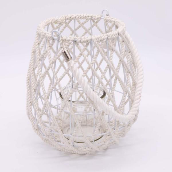 Windlichtlaterne - Kordel Weiß