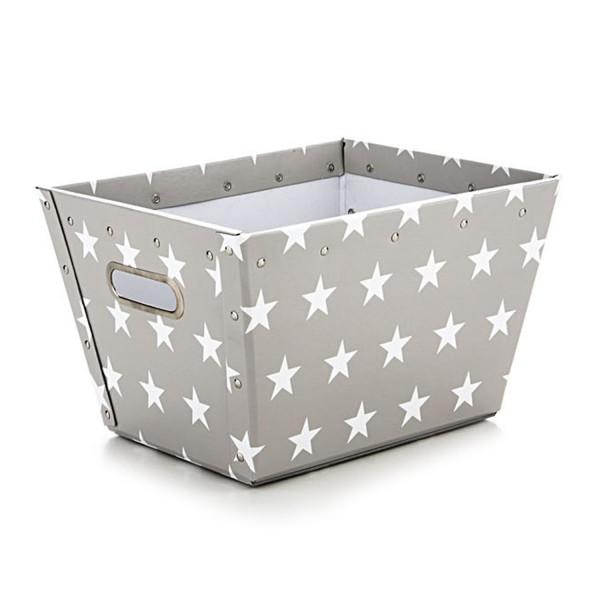 Korb Ajax - Hellgrau mit weißen Sternen - Größe S