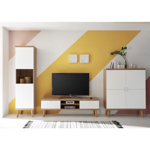Wohnwand III Merle - Skandinavisches Design - Eiche Riviera