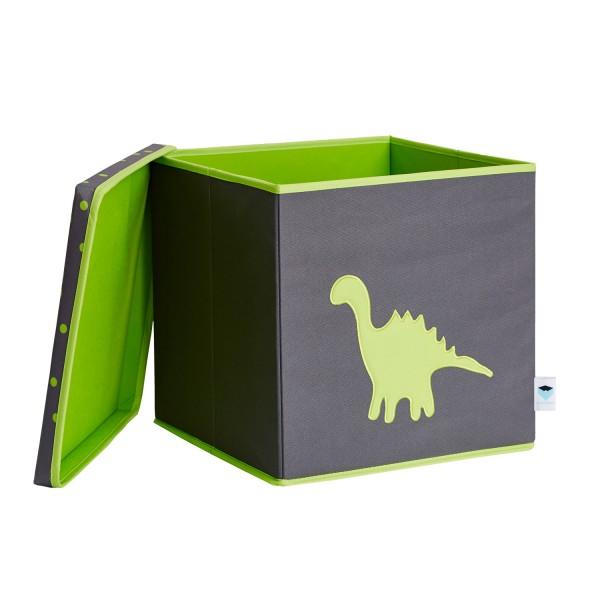 Pico Mundo - Spielzeugkiste mit Deckel - Dino - grau grün
