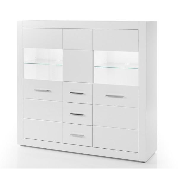 Highboard Bianco - Weiß Hochglanz